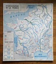carte d'école - affiche scolaire 1960 cotes de méditérranée - hydrographie