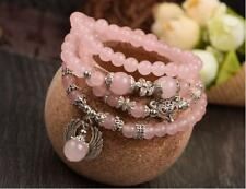 Natural pink crystal angel wings small fox love multi-layer bracelet  beaded