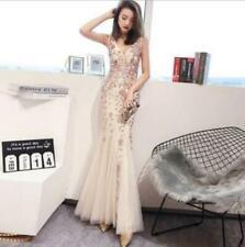 Women's Sequin Deep-V Sleeveless Evening Wedding Party Fishtail Dress Prom fa@s