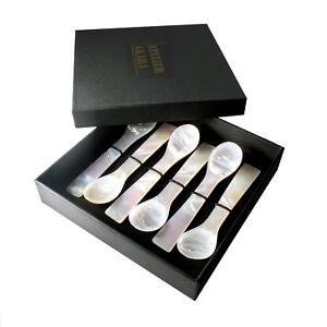 Perlmutt-Löffel 12cm, Set 6 Stück in Geschenk-Schachtel, für Eier oder Kaviar