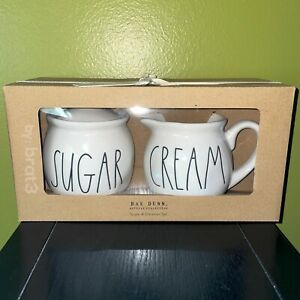 "RAE DUNN Artisan Collection LL ""SUGAR"" Bowl & ""CREAM"" Creamer Set By Magrenta"
