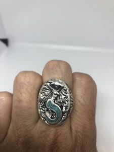 1980's Vintage Southwestern Silver Men's Turquoise Stone Inlay Mermaid 5.25 Ring