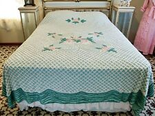 MIDCENTURY PINK & GREEN FLORAL COTTON CHENILLE FULL - QUEEN BEDSPREAD
