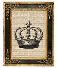 Crown 5 Art Print on Antique Book Page Vintage Illustration Tiara King Queen