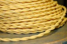 Gelb Verdreht Baumwolle Tuch Bedeckt Draht, Vintage Stil Lampe Kordel Antik