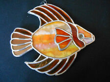 """VINTAGE but NEW HANGING STAINED GLASS 3D FISH 8"""" X 7"""" for WINDOW ORANGE"""