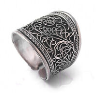 Vintage tibet silver mens unisex band thumb open adjustable ring