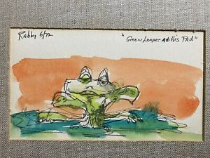 """Jim Rabby 1972 signed Original Rare Watercolor Frog """"Green Leaper at His Pad"""""""