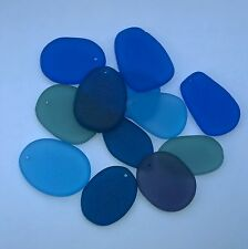 "12Pcs 1""  Matte Freeform Flat Sea Glass Beads Blues Jewelry Pendant Earring Dec"