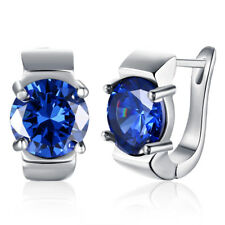 Elegant Women Fashion Platinum Plated Blue Crystal Stud Earrings for Party CG