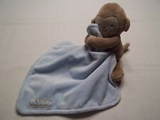 Just One You I Adore Mommy Monkey Blue Rattle Plush Security Blanket Lovey