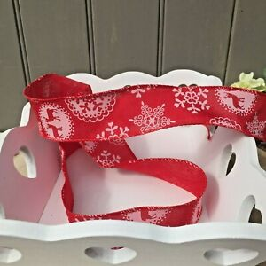 Christmas Stag Wired Red Ribbon For Bows,Wreaths,Crafts,Trim,Card Making 1Mtr