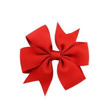 3 inch 2pcs/lot Girls Hair Bow Clip Grosgrain Ribbon Ribbon Line School Hairpins