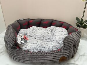Petface Dog Deli Bamboo Oval Dog Bed, Grey - Large- New - Free Post