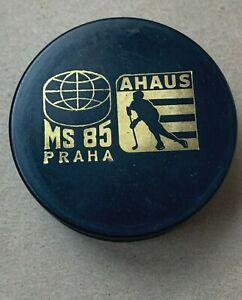 Vintage AHAUS Hockey Puck MS 85 Praha - Made in Czechoslovakia