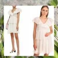 $487 NEW Ganni Ivory Seersucker Mini Dress 6 Tiered Dot Ruffle Peplum Cocktail
