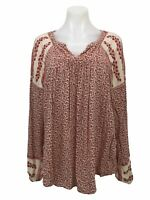 Lucky Brand Red Floral Tunic Top Blouse Long Sleeve Women's Size L