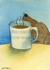 ACEO archival PRINT - Coffee Smells Good - animal, dog, pets, drink, foodie, art