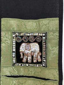 Handmade Thai Elephant 3 Pocket Letter Holder from Northern Thailand With Sequin