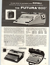 1960 PAPER AD 2 Sided Royal Futura 800 Smith Corona Portable Typewriter Sterling