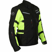 Buffalo Vortex Waterproof Textile Motorcycle Motorbike Jacket - Black / Fluo Yel