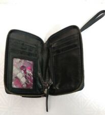 ELLIOTT LUCCA WOVEN BLACK LEATHER WRISTLET ZIP AROUND WALLET CELL PHONE CASE