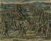 "De Bry - ""The Inca King, Atahualpa, goes to meet Pizarro"" 1596 - Benzoni - Lima"