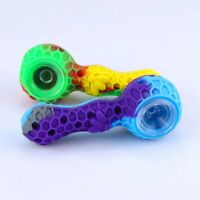 Smoking hand pipe tobacco dry herb glass bowl silicon covered pipe