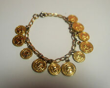 Vintage Gold Plated Bracelet of St Beneditto Medals  7 inches Long