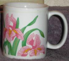 """Iris Coffee Cup Mug 12oz. Pink Flowers Coffee Cup Approx 3 1/2"""" X 3"""""""