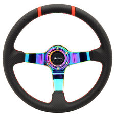 350mm JDM Racing Steering Wheel Black Carbon Fiber Look Neo Spokes Spoon Emblem