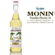 MONIN Coffee Syrups - VANILLA - 1L Plastic Bottle - USED BY COSTA COFFEE
