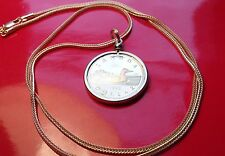 """1993 GOLDEN CANADA LOONIE PROOF GOLD FILL PENDANT on a 28"""" FOXTAIL GOLDEN CHAIN"""