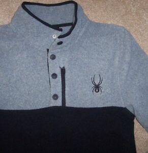NWT Spyder Gray/Black FLEECE PULLOVER Shirt Top Jacket 1/4-SNAP Neck Men M SHARP
