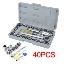"40pc Socket Adaptors Set 1/4""&3/8""Drive Ratchet Car Wrench Flexiable Repair Tool"
