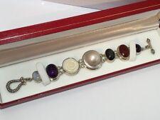 "Vintage Sterling Silver Artisan Pearl Flower Multi Gemstone Wheat Bracelet 7.25"""