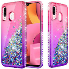 For Samsung Galaxy A20S Case Liquid Glitter Bling TPU Phone Cover+Tempered Glass