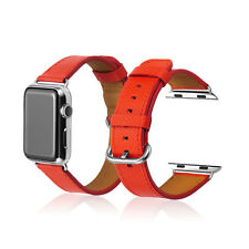 Apple Watch Red Genuine Her/mes Leather Watch Band Strap For iWatch Edition 42mm