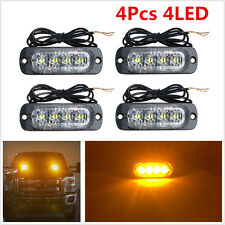 4Pcs 4 LED Light Bar Ultrathin Car Emergency Beacon Warning Flash Strobe Amber