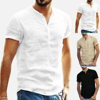 Men's Baggy Cotton Linen Soid Loose Short Sleeve Retro T Shirts Tee Tops Blouse