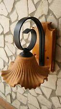 Applique rustico country in ferro battuto e legno 1 luce in terracotta