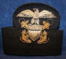 WW2 US NAVY USN OFFICER'S BULLION HAT BADGE AND HEADBAND