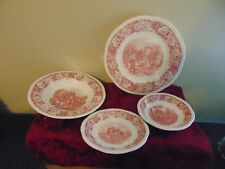 Homer Laughlin HISTORICAL AMERICA (RED) Dinner Plate VINTAGE 4 different pcs