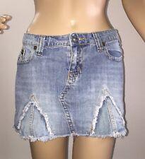 Industrial Cotton Denim Skirt Size 1 Sexy Micro Mini Frayed Edge Designer Style