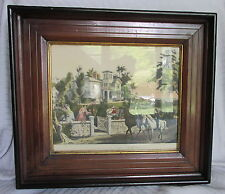 Victorian Antique Walnut Wood&Black Trim Painting Picture Framew/Horse Print