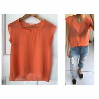 French Fashion Brand American Vintage Sheer Boxy Orange Silk Top Sz S