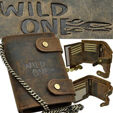 WILD ONE Geldbörse mit Kette und RFID-Blocker robustes Büffelleder Bikerbörse
