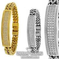 """Men's New Stainless Steel 316L Diamond Simulate White/Gold Finish Bracelet 8.5 """""""