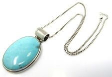 925 Silver EXEX Signed Blue Stone Box Chain Necklace 31.8g #GL-172