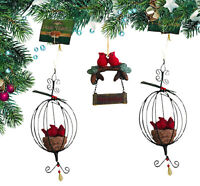 Cardinal Birds Ornaments Cracker Barrel Lot Of 3 Xmas Tree Decor NOS w/ Tags